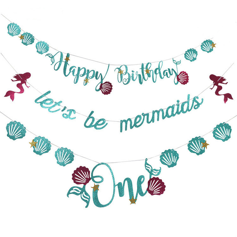 Glitter Paper Birthday Party Hanging Bunting Banner Flag: Glitter Mermaid Shell Banners Happy Birthday Letters