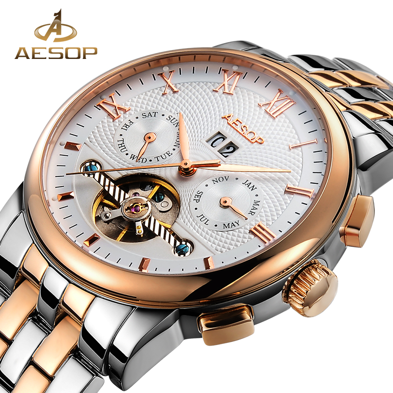 AESOP Fashion Watch Men Automatic Mechanical Stainless Steel Strap Wrist Wristwatch Male Clock Relogio Masculino Hodinky Box 27 fashion top brand watch men automatic mechanical wristwatch stainless steel waterproof luminous male clock relogio masculino 46