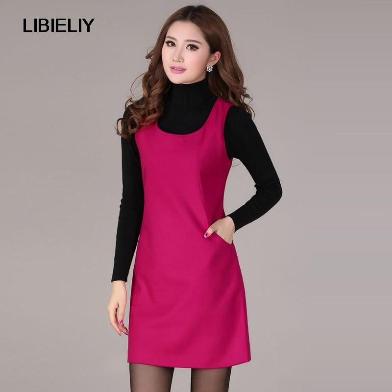 ΞCalidad Superior Niza señoras Otoño Invierno vestido de lana sin ...