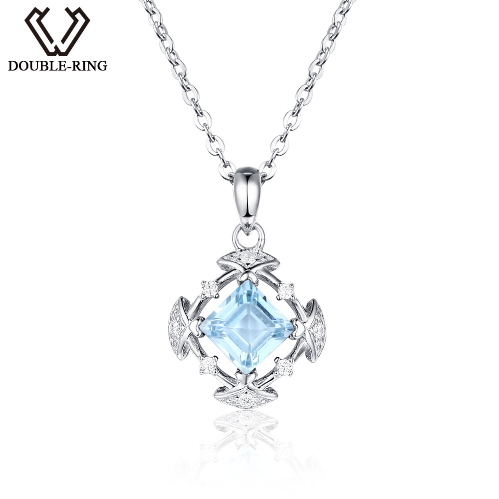 DOUBLE-R Genuine Natural Blue Topaz Pendants 925 Sterling Silver jewelry Necklaces Pendants for Women Fine Jewelry umcho 3 4ct genuine natural swiss blue topaz gemstone pendants necklaces for women pure 925 sterling silver necklace jewelry