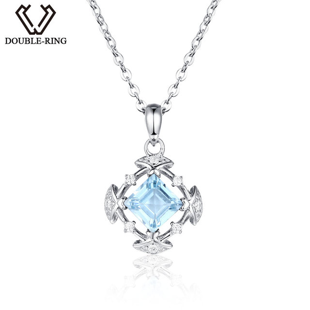 DOUBLE-R Genuine Natural Blue Topaz Pendants 925 Sterling Silver jewelry Necklac
