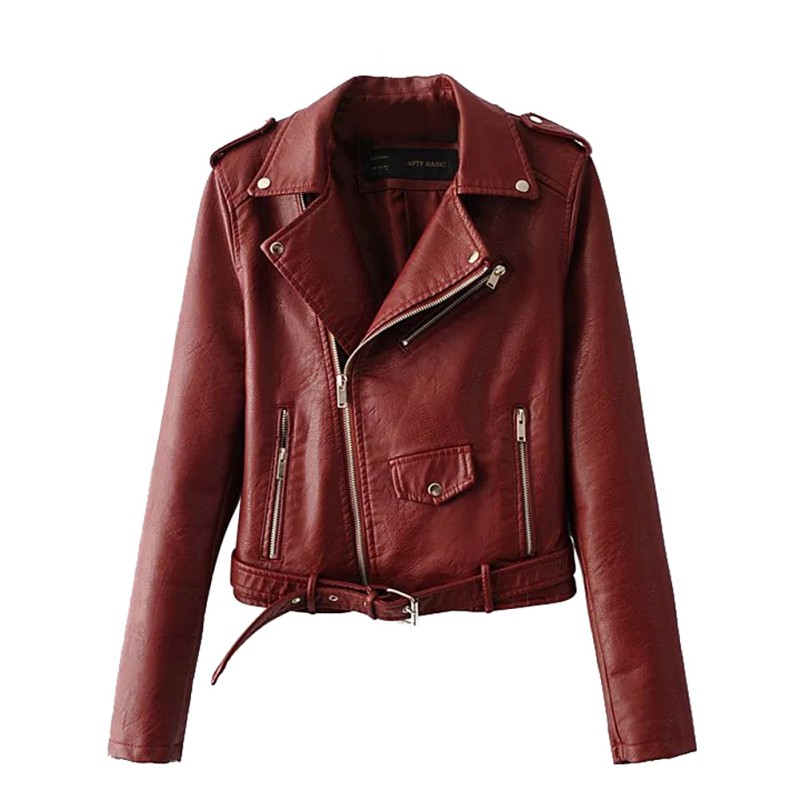 New Spring Fashion Bright Colors Good Quality Ladies Basic Street Women Short PU Leather Jacket FREE Accessories S-XL
