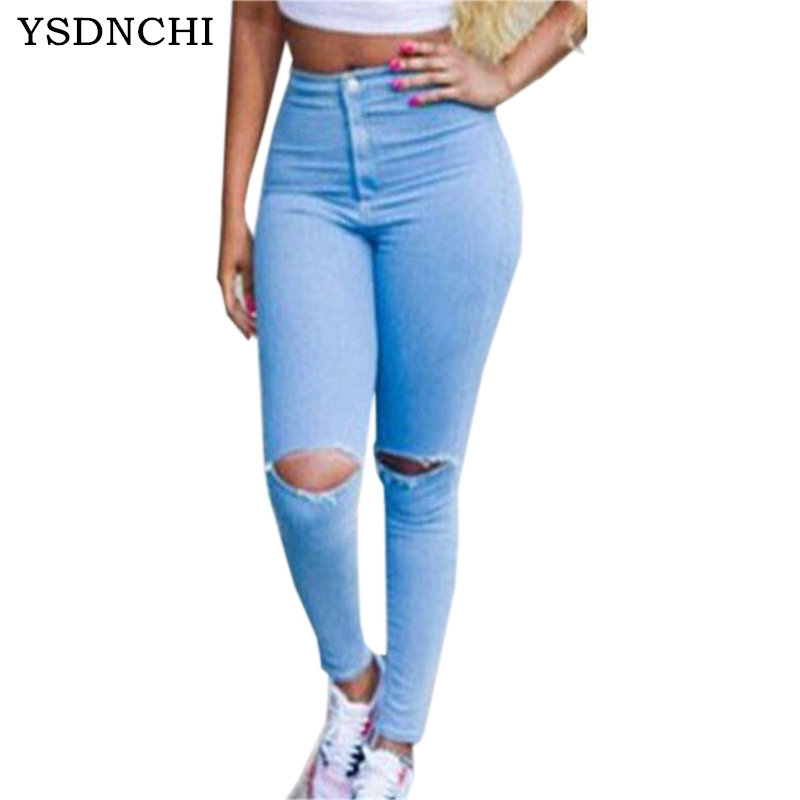 Denim Jeans Women Light Blue Pants Lady Slim Ripped Summer Zippers Hole Woman Stretch Full Length Button Plus Size Jean K103 sulee brand 2017 mens plus size jeans stretch dark blue denim slim long trouser jean pants big and tall trendy mens clothing