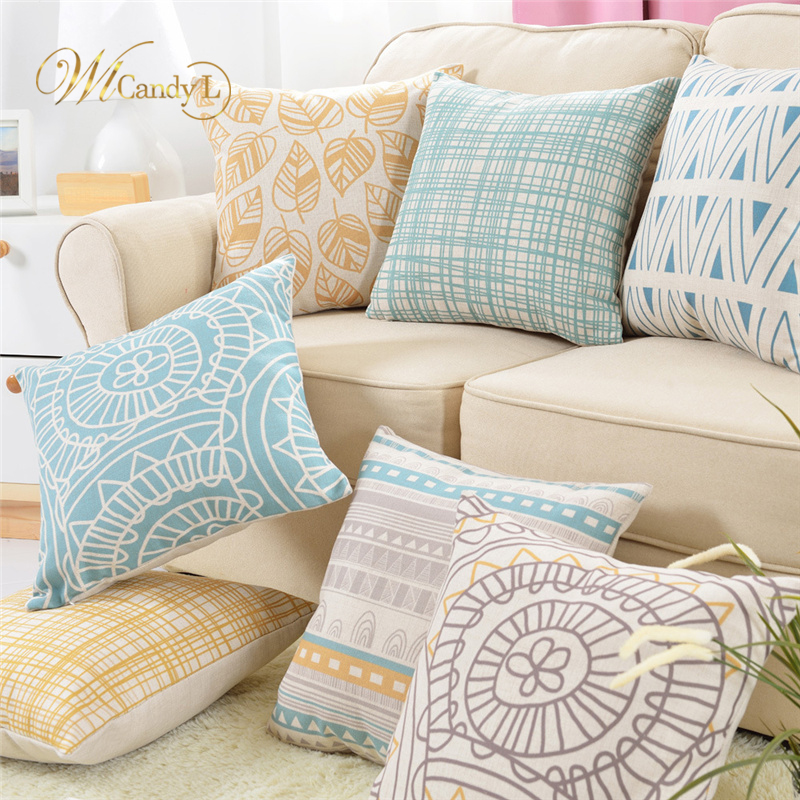 WL Candy L 8 Pattern Nordic Style Cushion Cover Leaf Geometric printed Waist Beige Throw Pillow Cover Home Sofa Car Decor