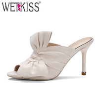 WETKISS New Arrival Designer Shoes Woman Sexy Peep toe Bow Slippers Women Summer Thin High Heels Mules Party Shoes