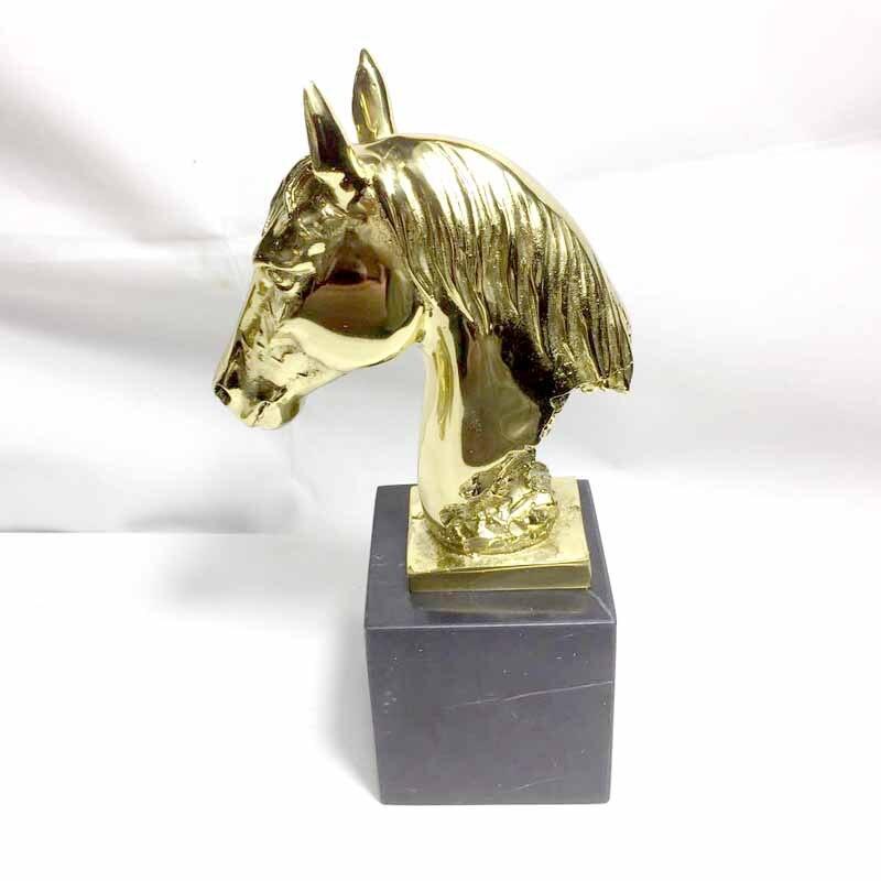 Fonte cuivre artisanat guerre cheval tête hôtel meubles décoration maison salon décor statue + base en marbre noir