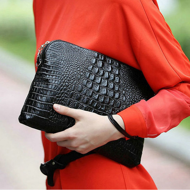 15 Colors 2015 New Small Women Genuine Cow Leather Clutches Classic Alligator Print Pattern Shoulder Purse Handbag H0007