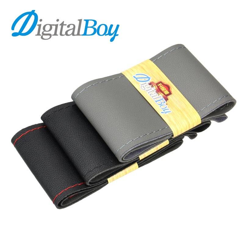 Digitalboy Noir Microfibre En Cuir Cousu À La Main Tresse Couverture De Volant de Voiture Dérapage Preuve Avec Aiguilles et Du Fil pour 38 cm voiture