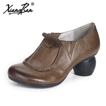 Xiangban 2018 Spring Women Heels Genuine Leather Handmade Elegant High Heels Ladies Pumps Deep Mouth