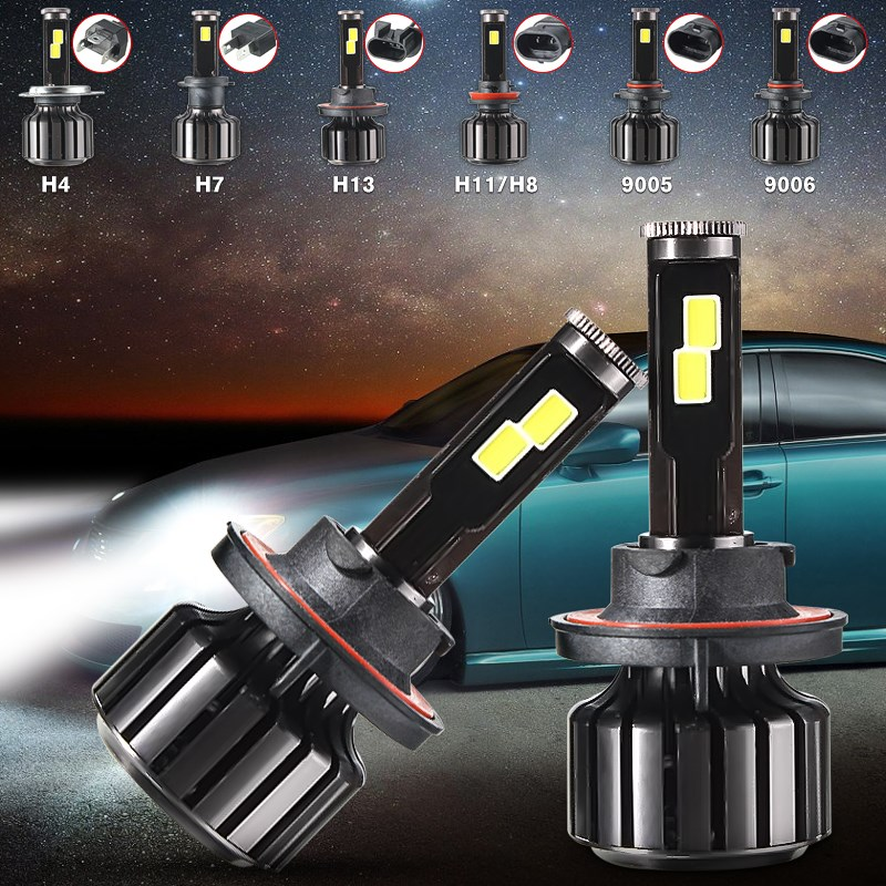 Car COB LED Headlight H4 H13 Hi/Lo Beam H7 H11/H8 9005 HB3 9006 HB4 120W 10000LM Conversion Kit Light Lamp Bulbs 6000K White  1 pair dc 9 36v h4 cob 80w led car headlight kit hi lo beam bulbs 6000k