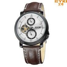 2016 Top Brand EYKI Hombres Reloj Mecánico Correa de Cuero Genuino Impermeable EFL Display Analógico de Pulsera del relogio masculino 8745