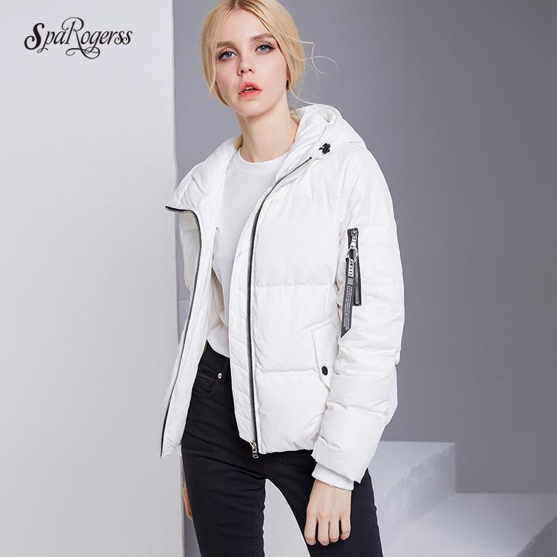 цены на SpaRogerss Winter Womens Down Jacket Leisure Trend Loose Hooded Zipper White Eider Coat Jacket Warm Tops Outwear Parkas DA85394 в интернет-магазинах