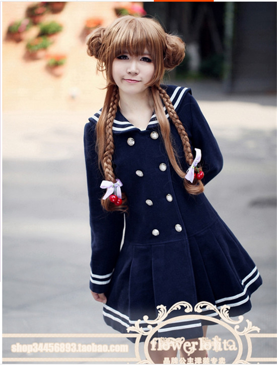 New Arrival Fashion Japanese Navy Sailor Collar Women Winter Wool Coat Long Blazer Lolita Outwear Windbreaker