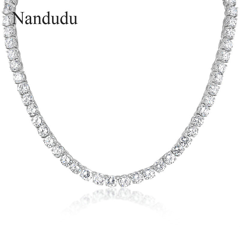 Nandudu White Gold Color Fashion Cubic Zirconia Tennis Necklace for Women Girl Chain Necklaces HOT SALE Jewelry Gift N871