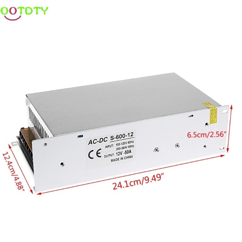 AC 100-260V To DC 12V 50A 600W Switch Power Supply Driver Adapter LED Strip Light  828 Promotion 4pcs 12v 1a cctv system power dc switch power supply adapter for cctv system