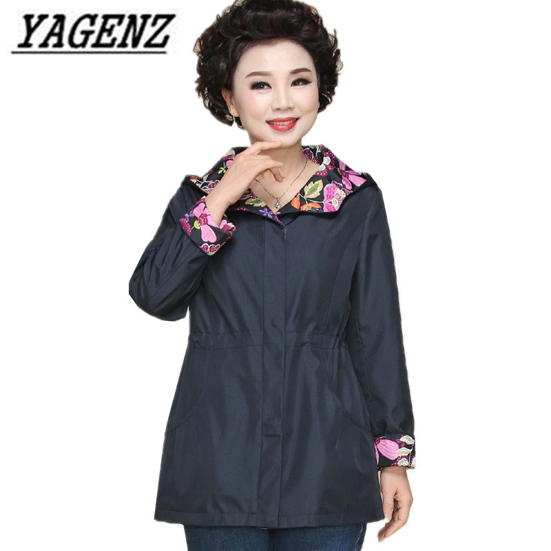 Middle-aged elderly Women's Windbreaker Hooded Coats 2018 New Slim Large-size Print ladies Outerwear Casual Thin   Trench   Coat 5XL