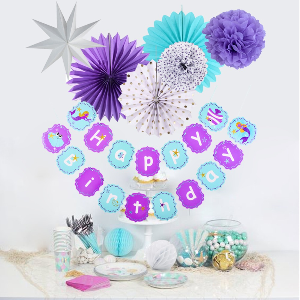 9pcs Oceanic Mermaid Birthday Party Decorations Set Under the Sea Banner Paper Star Pom Pom Girl Birthday Supplies in Party DIY Decorations from Home Garden