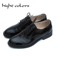 Hight Colors Patent Leather Oxfords Shoes England Style Women Genuine Leather Shoes Black Causal Flat Shoes Woman Big Size 10.5