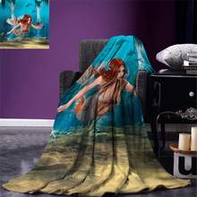 Mermaid Gooi Levensechte Mermaid Holding een Zee Lelie Magic Aquatische Wereld Thema Warm Microfiber Deken(China)