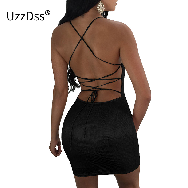 UZZDSS Sexy Clube Vestido Metálico 2018 Abrir Voltar Lace Up Mangas vestido de Verão Mini Vestido Mulheres Oco Out Bodycon Vestidos Para mulheres