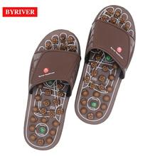 BYRIVER Akupresur Pijat Kaki Batu Giok Sandal Pijat Sandal Acupoint Sepatu Reflexology untuk Pria Wanita Plantar Fasciitis