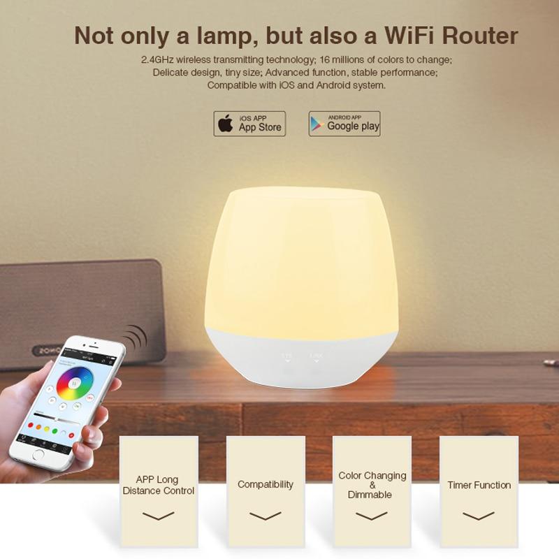 все цены на Mi light Smart Night light Wifi iBox1 Led Controller Dimmer table lamp APP iOS Android Remote Control RGB LED Bulb lightbox DC5V онлайн