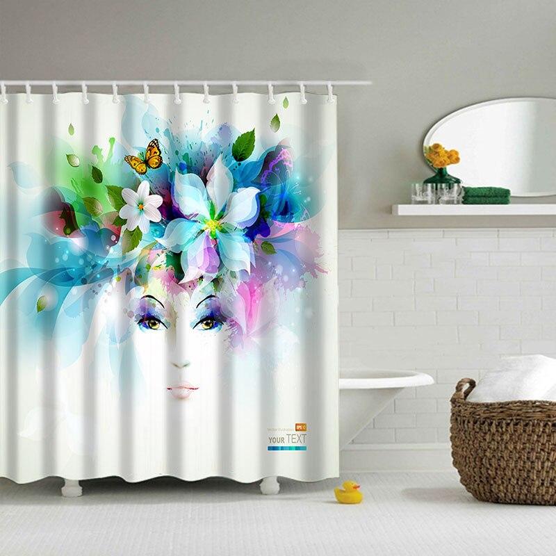 Polyester shower curtain girl 3d waterfall bath scenery rideau de douche waterproof bathroom - Rideau de douche 180x180 ...