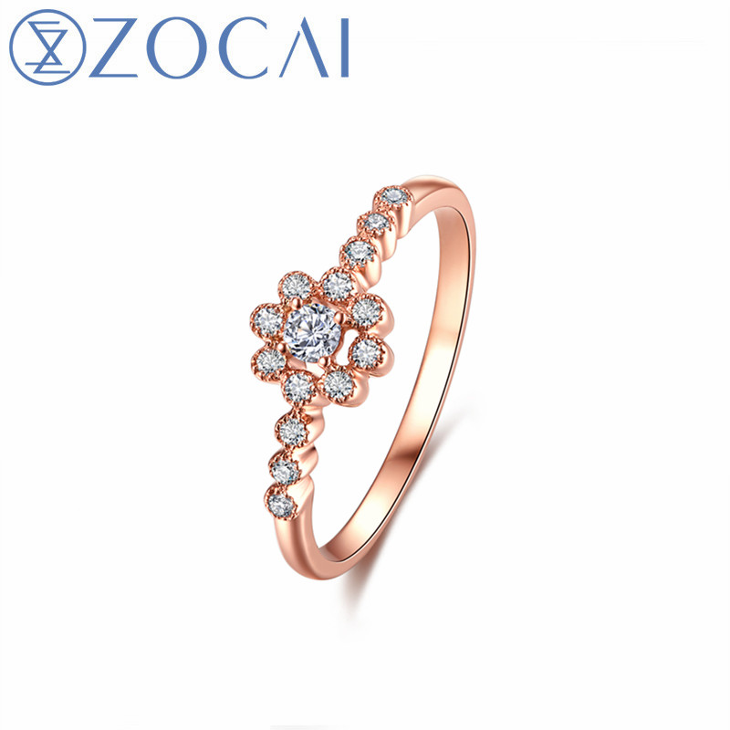ZOCAI New Design Fine Ring Total 0.2 CT Diamond Wedding Ring with Real 18K Rose Gold (Au750) W80108T_1ZOCAI New Design Fine Ring Total 0.2 CT Diamond Wedding Ring with Real 18K Rose Gold (Au750) W80108T_1