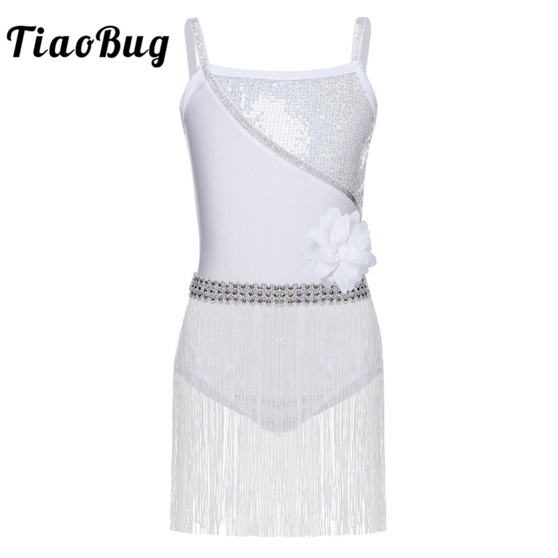 TiaoBug Kids Girls Shiny Elastic Shoulder Straps Sequin Latin Dance Dress Rumba Salsa Tango Leotards Dress with Tassels Age 4-12