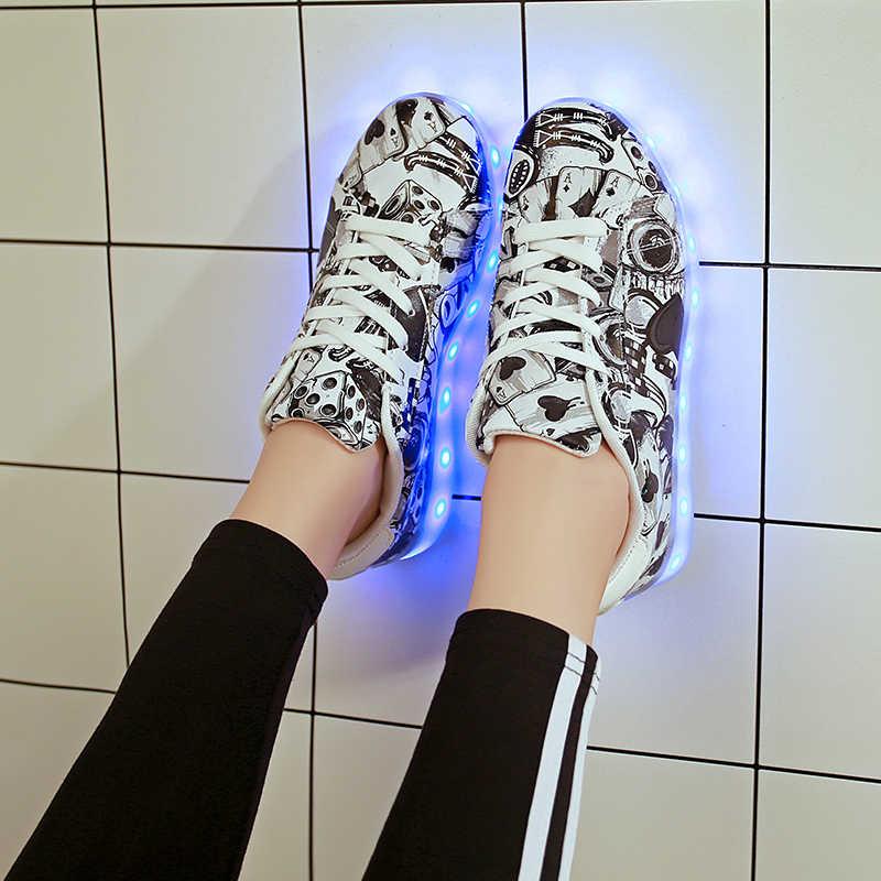 7ipupas coloridas zapatillas luminosas Unisex led shoe boy con suela iluminada para niños ilumina zapato niña brillantes zapatillas de carga Usb