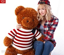 super big lovely stripe sweater brown teddy bear toy huge flag sweater plush bear doll gift doll about 150cm