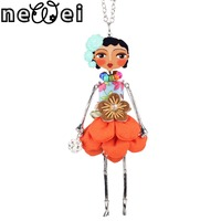 Newei Doll Necklace Dress Coral Trendy New 2015 Acrylic Alloy Cute Girl Women Flower Figure Pendant