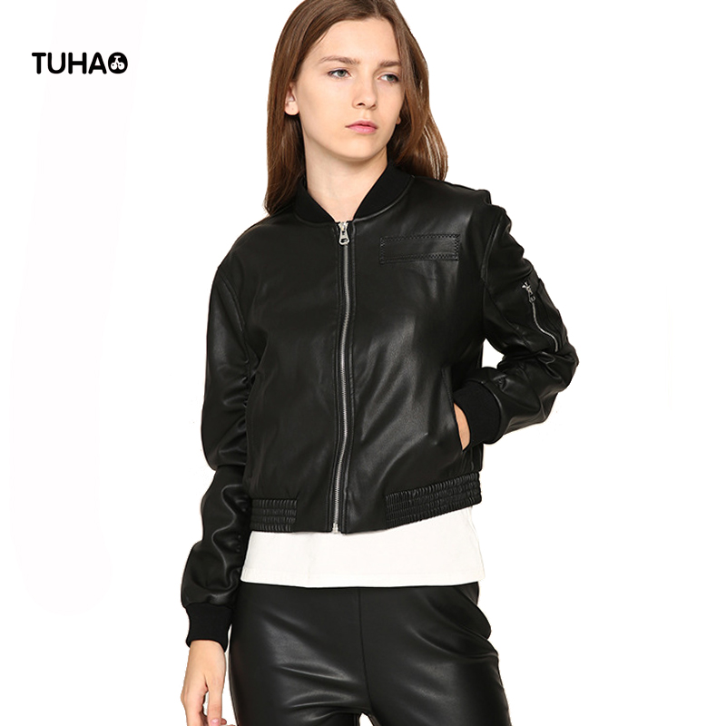 TUHAO Spring Exclusive PU   Leather   Jacket Women Baseball Coats Short Style Pockets Soft Casual Windbreaker Bomber Jackets TFS262