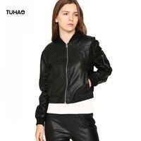 TUHAO Spring Exclusive PU Leather Jacket Women Baseball Coats Short Style Pockets Soft Casual Windbreaker Bomber Jackets TFS262