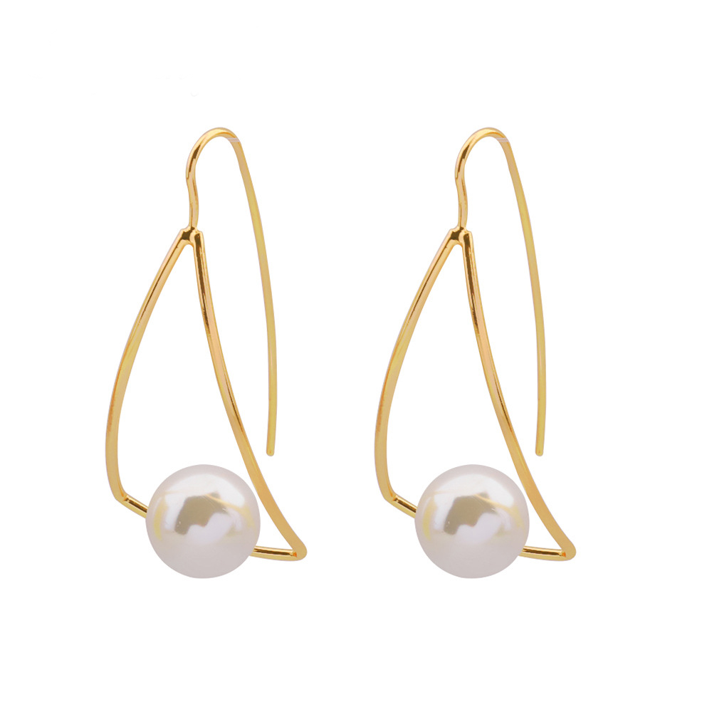 UBEAUTY Triangular Earrings Curved Geometry Shape Earring With Simple Pearl Pendant Temperamental Grils Birthday Gifts