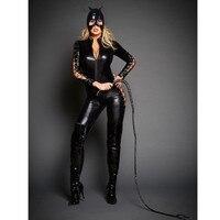 Hodisytian Women Sexy Lingerie Leather Jumpsuits Bodycon Costume Headgear Cat Girl Female Sexy Skinny Bodysuits Bandage Sleeve