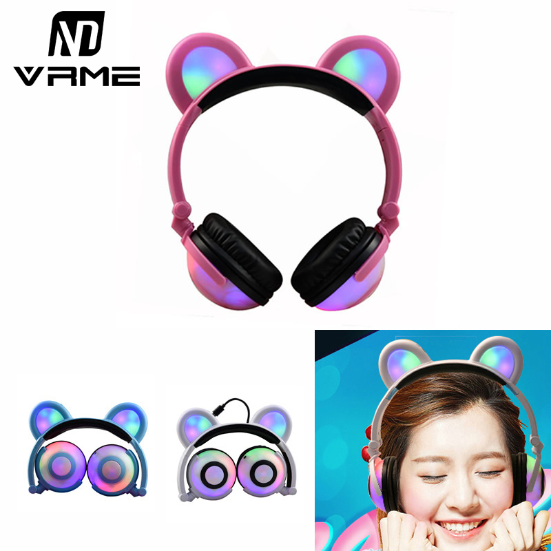 Vrme Bear Ear Headphones Flashing Glowing Cosplay Foldable Over-Ear Gaming Headsets with LED Light for iPhone 7 6 Xiaomi Samsung merrisport wireless bluetooth foldable over ear headphones headsets with mic for for cellphones ipad iphone laptop rose gold