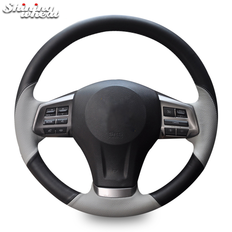 BANNIS Black Gray Leather Car Steering Wheel Cover for Subaru Forester 2013 2015 Legacy 2013 2014