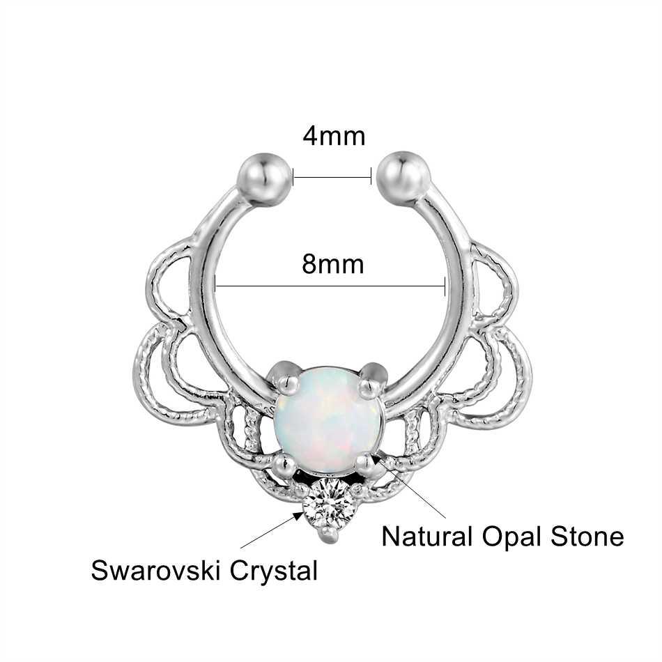 G23titan אופל אבן מחץ קליפ האף פירסינג טבעות מקסים אופל קריסטל פטמה אוזן פירסינג עגילי אופנה תכשיטי גוף
