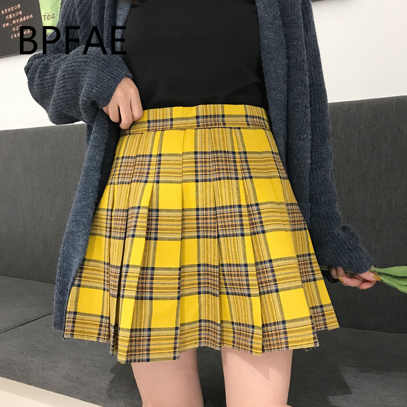 2018 New Women England Style Casual Black Yellow Plaid Pleated Skirts Shorts Hot Sale High Waist Plaided Mini Skirt Plus Size