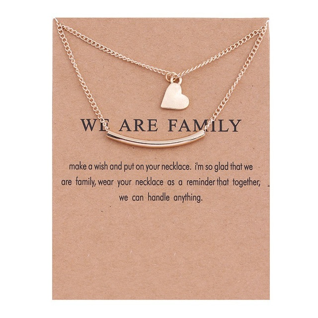 ZHIMO New Arrival Popular Simple Design We Are Family Card Two Layers Heart Pendant Tube Chain Neckalce for Women Gifts