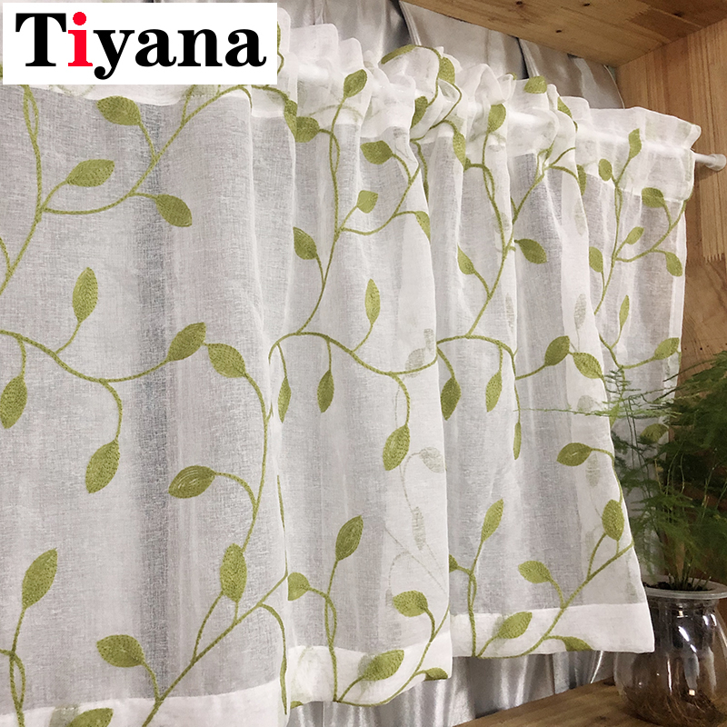 Embroidered Short Tulle Curtains for the Kitchen Pastoral Leaves Pattern Partition Door Window Decor Sheer Curtains Panel P072X