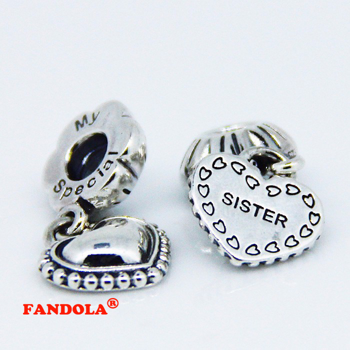 3d583d4b9 Fit Pandora Bracelets My Special Sister Dangle Beads Authentic 925 Sterling  Silver Charms DIY Jewelry Wholesale FL064