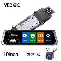 YEBIGO Car DVR Camera Dual Lens 10 inch Full HD 1080P Dashcam Rearview Mirror Video Recorder Registrator Car Cam Dash Cam10
