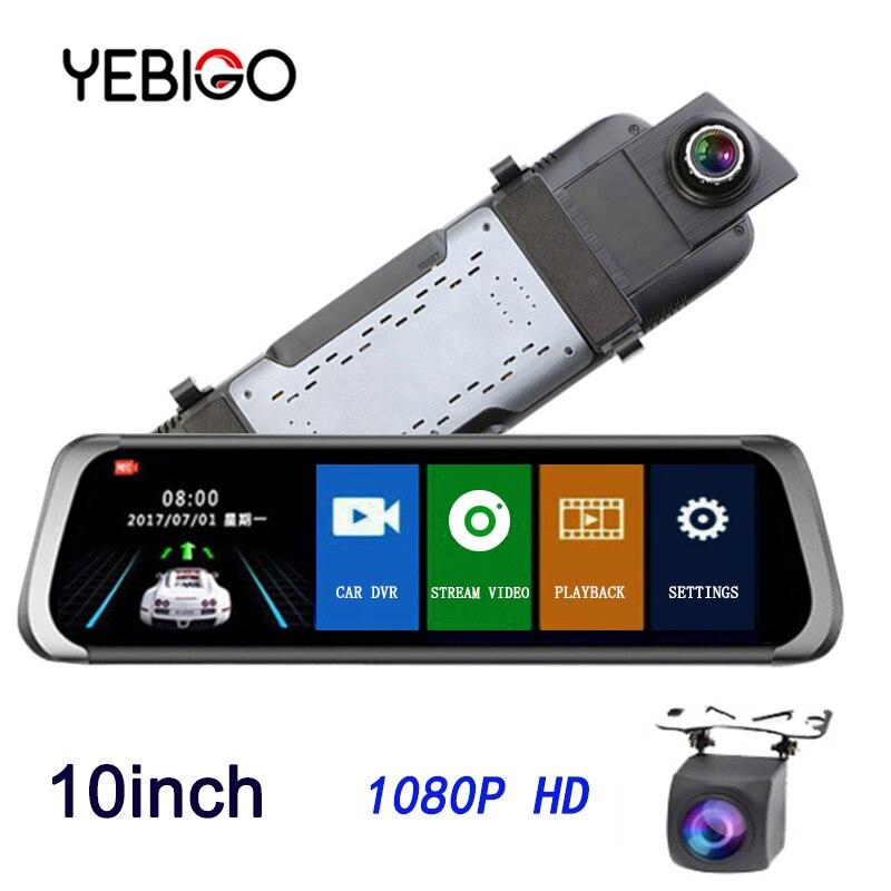 """YEBIGO Car DVR Camera Dual Lens 10 inch Full HD 1080P Dashcam Rearview Mirror Video Recorder Registrator Car Cam Dash Cam10"""""""