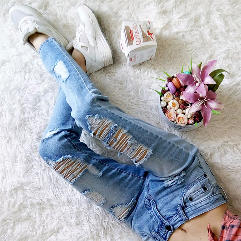 High Quality Cotton Skinny Ripped Jeans for Women Pencil Pants Casual Trousers For Ladies Blue Mid Waist Denim Pencil Jeans P45 casual vintage ripped denim jumpsuits suspender trousers high waist ladies winter long pants blue boyfriend jeans for women
