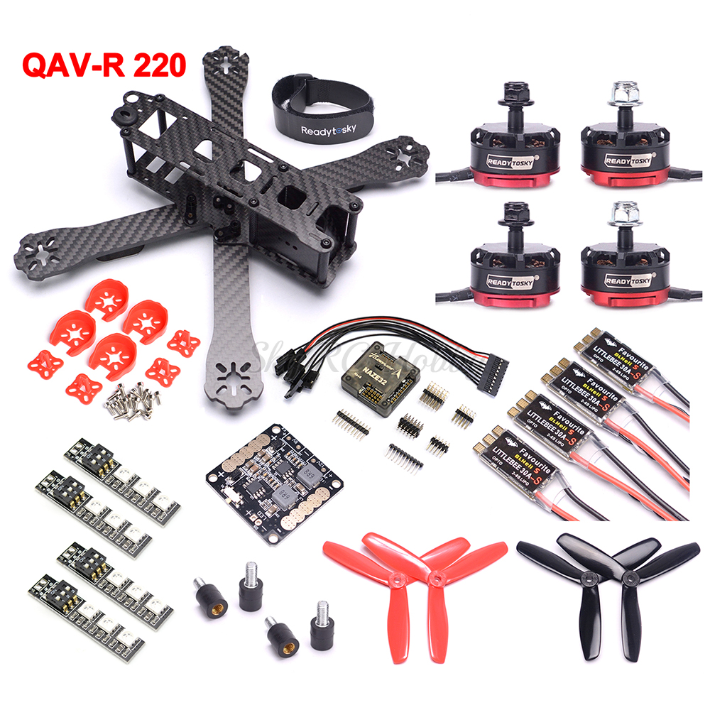 QAV-R 220mm 220 Carbon Fiber Racing Drone Quadcopter Naze32 F3 Flight Controller RS2205 2300KV Motor LittleBee 30A BLHeli_S ESC