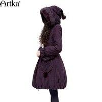 Artka Women S Ladylike Casual Rabbit Fur Leather Hooded Velvet Fur Knitted Belt Flower Knitted Solid