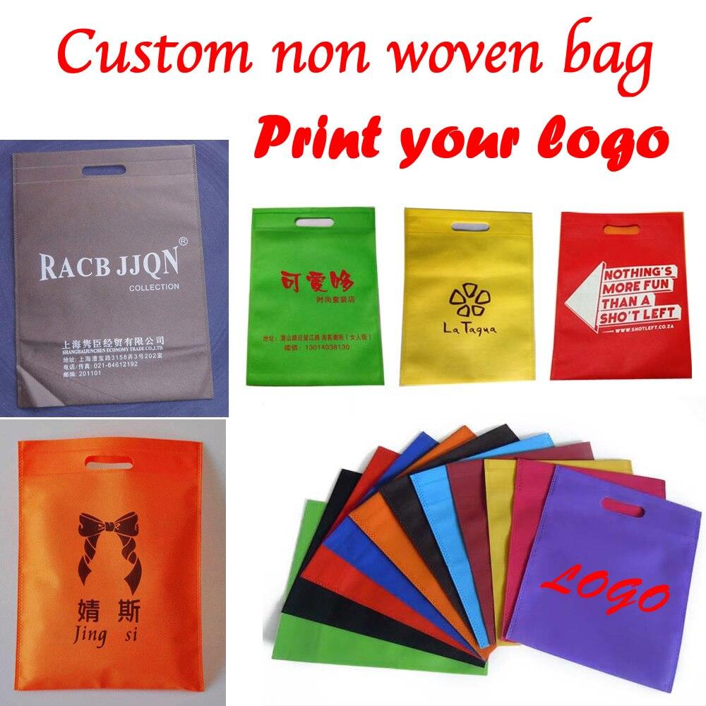 Custom print gift non woven bag for packaging shopping bag handle non woven bag