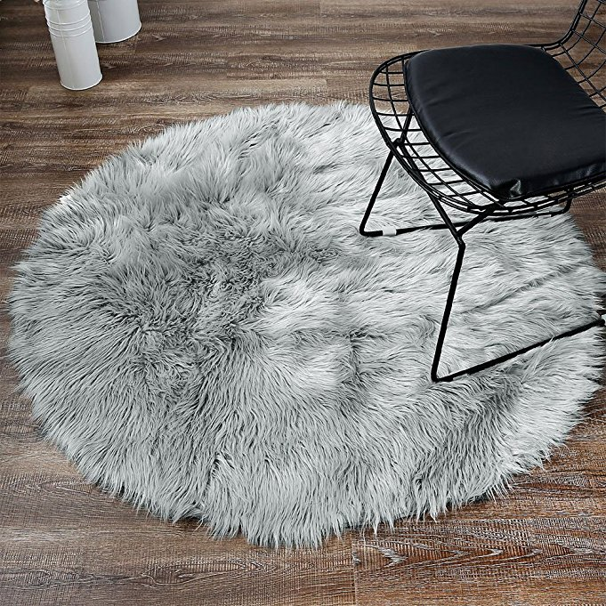 Greyround Sheepskin Chair Cover Seat Pad Soft Carpet Hairy